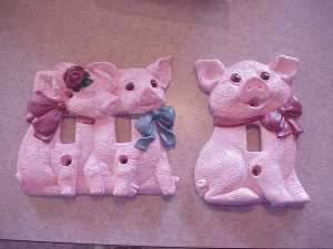 Beautiful Hand Painted Pink Pig variety of Single and Double Switch Plates