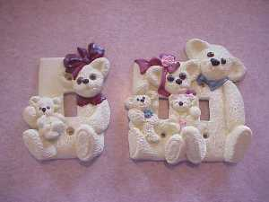Beautiful Hand Painted Cream Bear Pair of Switch Plate Covers!